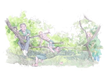 Meeting places for children. Drawing after photo by Ruth Woods.